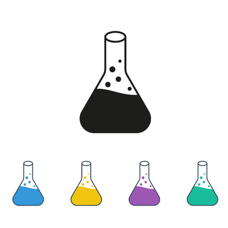 conical: Conical Flask Icon Isolated colored on White Background Illustration