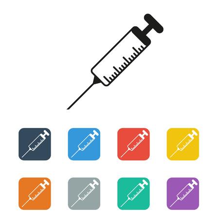 inoculation: vector flat syringe colored icon set on white background Illustration