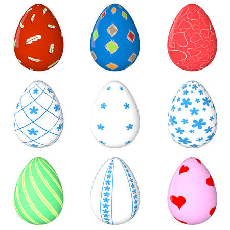 colored egg: Easter egg Set. Painted. 3D object. Render. Easter Holiday. Colored Eggs.