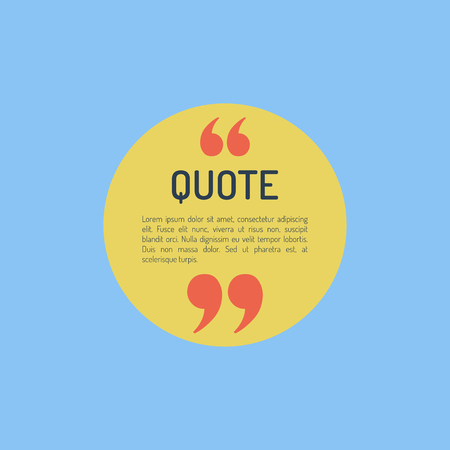 and comma: QuotesTemplate in flat style Colored Flat Quotes Vector