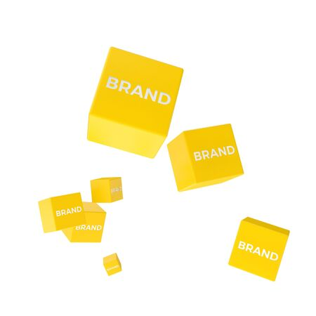 package printing: BRAND word on colored cubes, creative business concept, 3D render