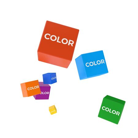 package printing: COLOR word on colored cubes, creative business concept, 3D render