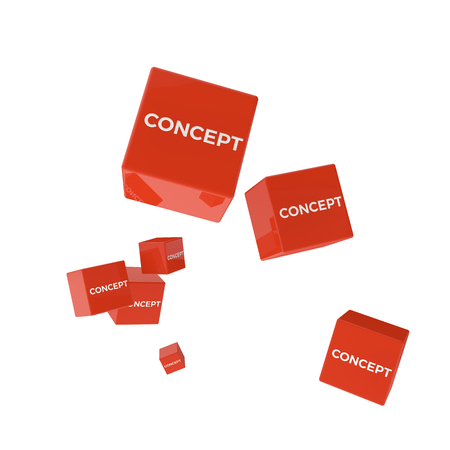 package printing: CONCEPT word on colored cubes, creative business concept, 3D render