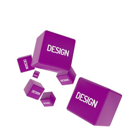 package printing: DESIGN word on colored cubes, creative business concept, 3D render