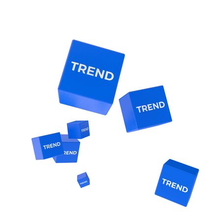 package printing: TREND word on colored cubes, creative business concept, 3D render