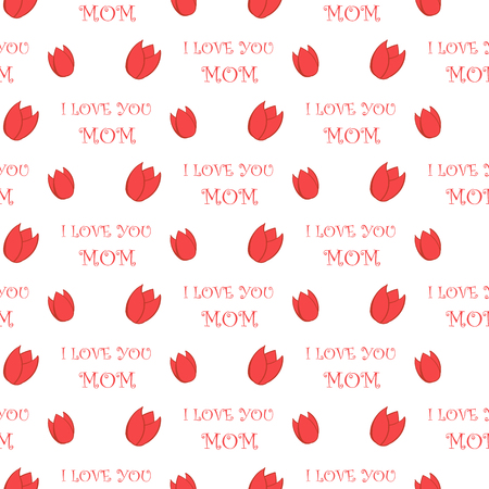 stylishly: Simple Tulip Icon and I love you Mom text Holiday seamless pattern vector