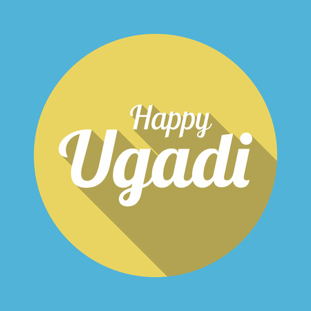 karnataka culture: Happy Ugadi in flat style with long shadow card template vector