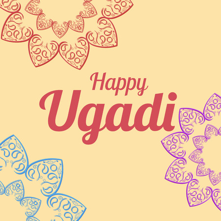 spring festival: Happy Ugadi card template with mandala vector