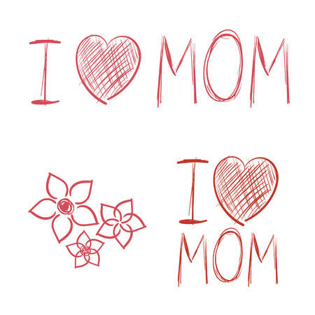 i kids: I love Mom hand drawn elements kids drawing vector