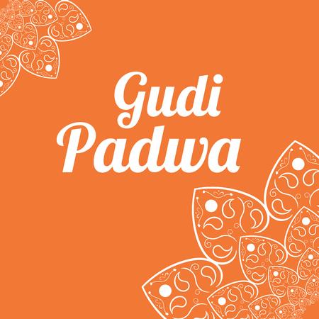 marathi: Happy Ugadi Gudi Padwa card with white mandala vector