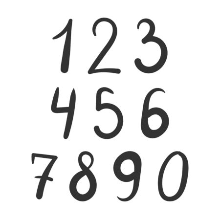 Bold simple number font hand drawn isolated Illustration