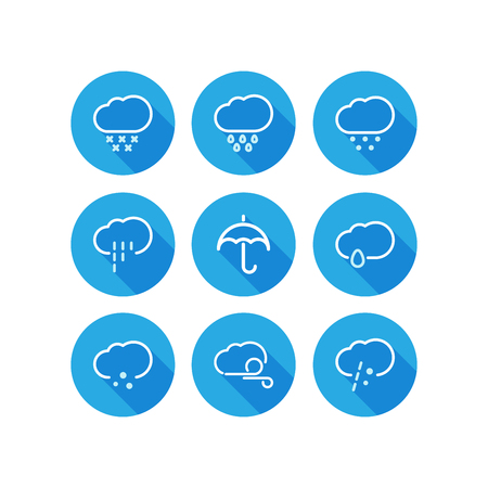 Set of weather icons flat style with long shadow vector