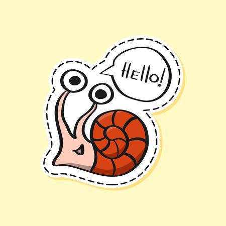 Snail sticker. Funny emoji. Nature character. Cartoon. Icon, element, design, card, gift, textile, logo. Hello! Foto de archivo - 121815737