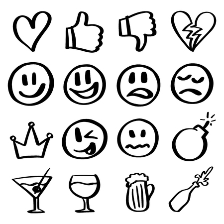 Smiles set. Hand drawn outline icon. Love, like, smile, sad, bomb, queen, beer, bottle.