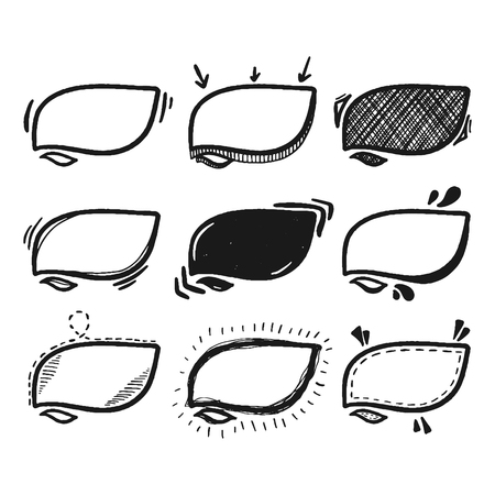 Thoughts bubbles hand drawn set. Mind cloud template. Bubbles speech of different styles and shapes. Illustration