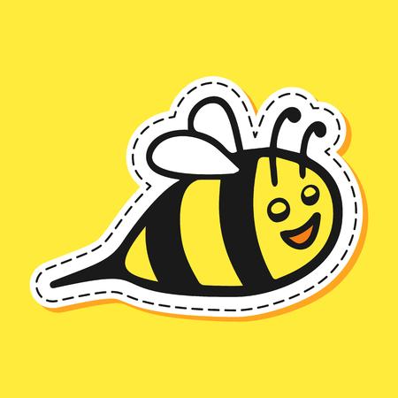 Bee sticker cartoon emoji character hand draw. Logo, element, background, textile. Smile, glad, joy