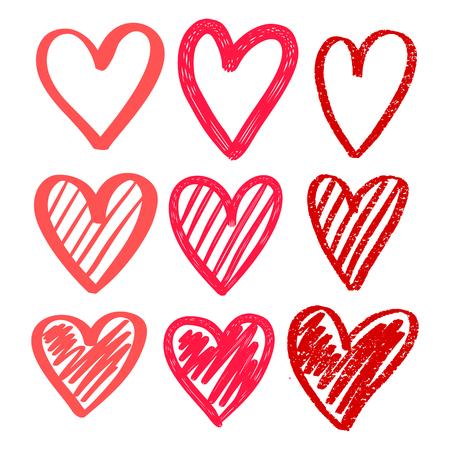 Harten hand getrokken. Grote harten instellen. Geïsoleerd. Borsteleffect, markering, kindertekening, textuur, arcering