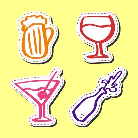 Sticker alcohol hand drawn set flat style, beer, martini, wine, bottle