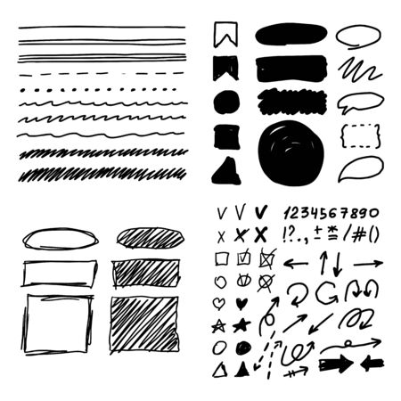 Marker style set hand drawn. Text mark templates. Lines, stroke, shapes