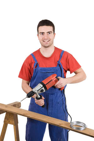 worker using a drill Stock Photo - 12897472