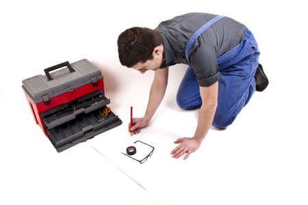 worker designing his work Stock Photo - 12897475