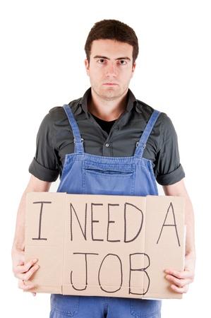 collarin: trabajador de la fábrica en busca de un puesto de trabajo Foto de archivo