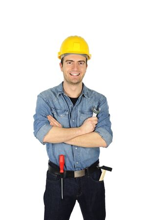portrait of smiling a carpenter holding a wrench Stock Photo - 12897483