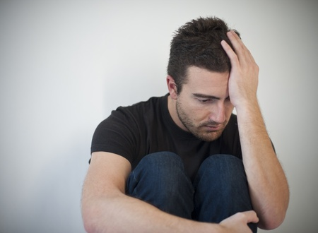 portrait of young man depressed and sad  photo