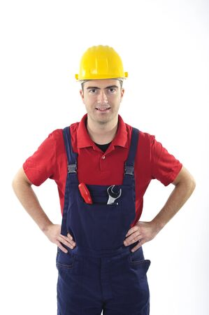 worker dressed with overalls isolated on white background Stock Photo - 12897505