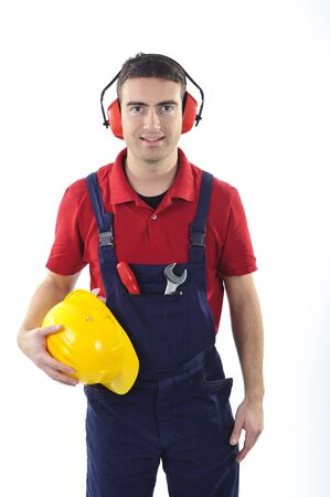 worker with safety equipment isolated on white background Stock Photo