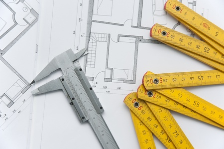 close up of achitecture project and papers and tools Stock Photo