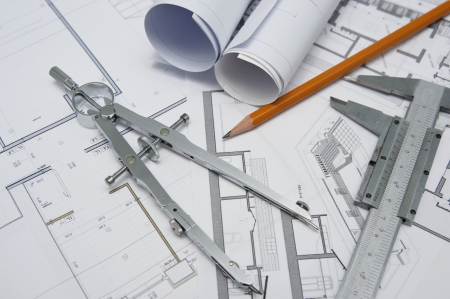 house renovation: architect project design tools Stock Photo