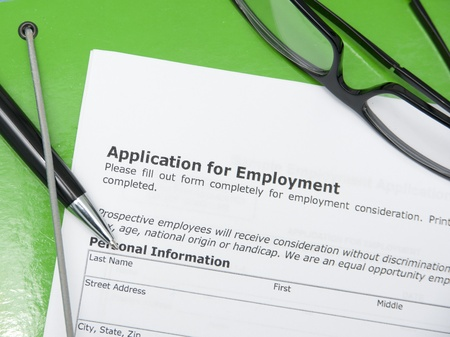 close-up of application for employment