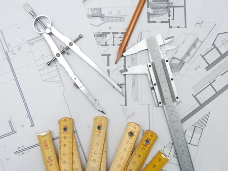 architecture project creation tools Stock Photo