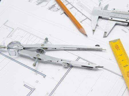 close up of compasses and architecture project Stock Photo
