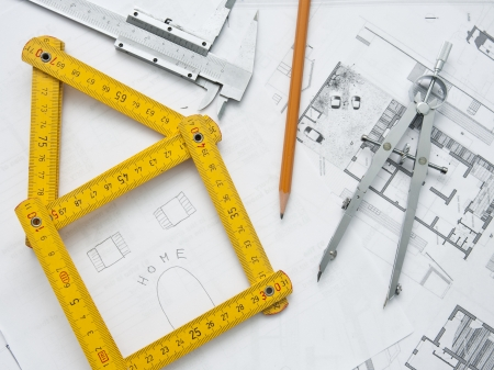structural engineers: architecture project and home dream plan Stock Photo