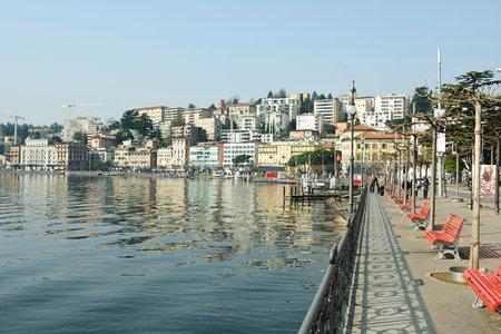 lakeside panorama of the swiss city of lugano