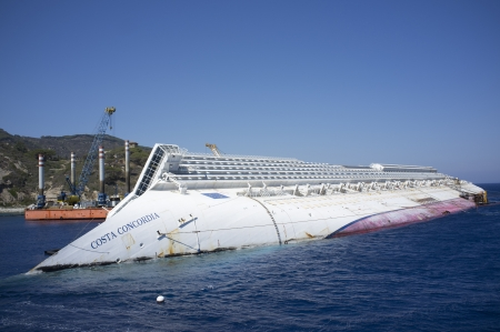 view of the wreck of the costa concordia from the isola del giglio