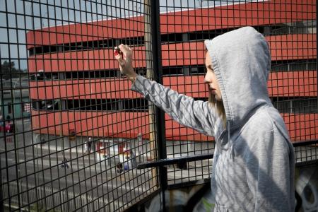 sad girl solitude in the urban city Stock Photo