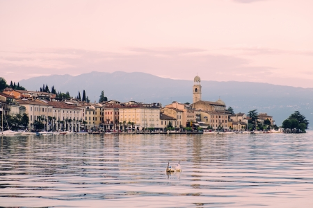 ponton: italian garda lake landscape Stock Photo