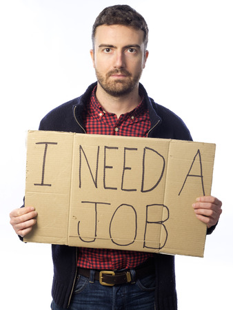 looking for a job: unemployed young adult looking for a job holding sign I need job isolated on white background Stock Photo