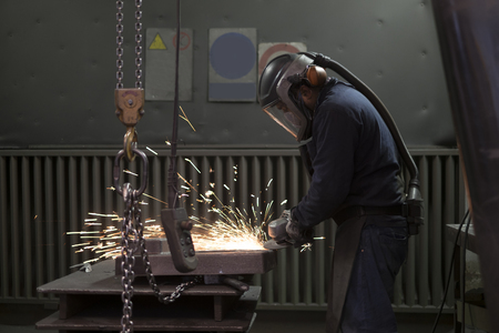 boiler suit: Working with a angle grinder