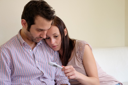 unplanned: Lovers couple scared after pregnancy test result
