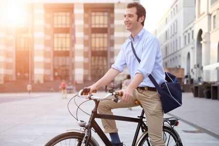 Man riding his bicycle in the city