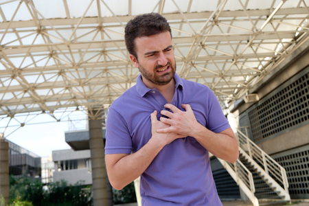 sudden: Man suffering for a sudden heart attack Stock Photo