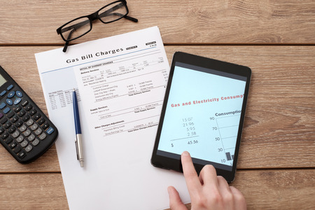 utility payments: Gas bill charges form for online  calculation Stock Photo