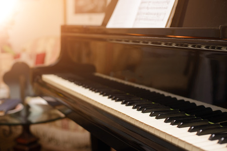 music therapy: Piano keyboard with shallow depth of field focus Stock Photo
