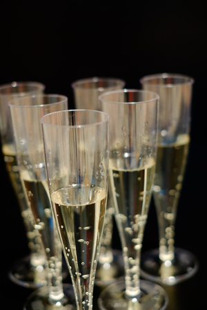 flutes: Champagne flutes glasses isolated on black background