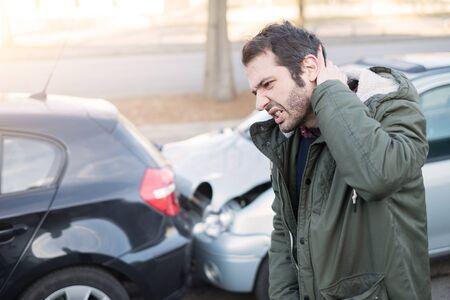 Man feeling bad after one car crash accident Standard-Bild