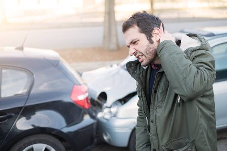 Man feeling bad after one car crash accident Stockfoto